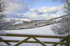 Snowy gateway near Combe Martin, Exmoor National Park, Devon